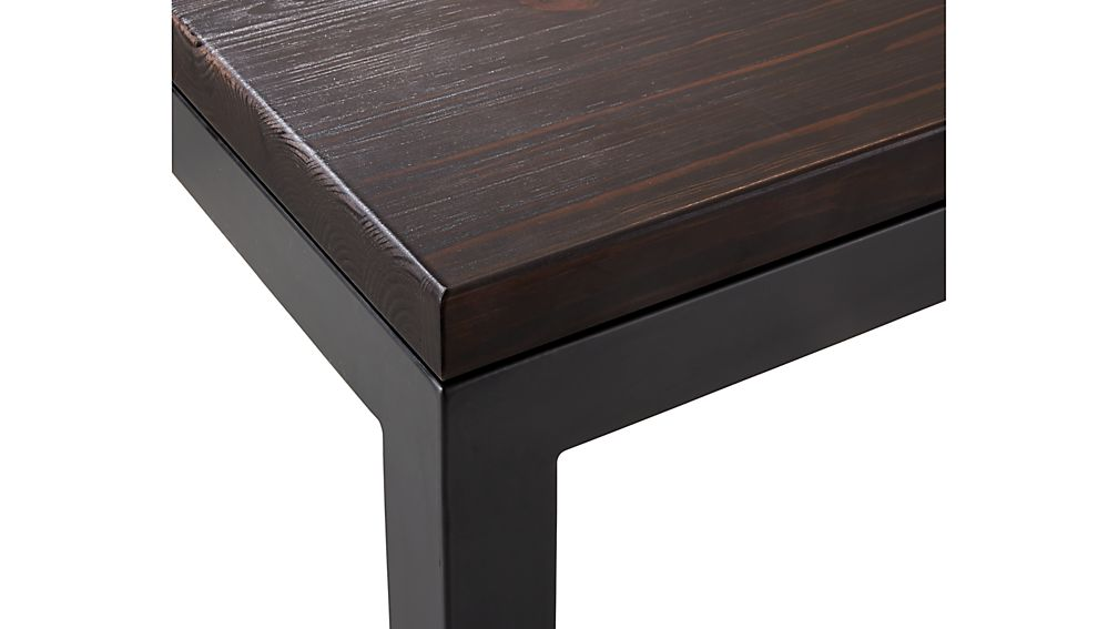 Parsons Pine Top/ Dark Steel Base 48x28 Small Rectangular Coffee Table