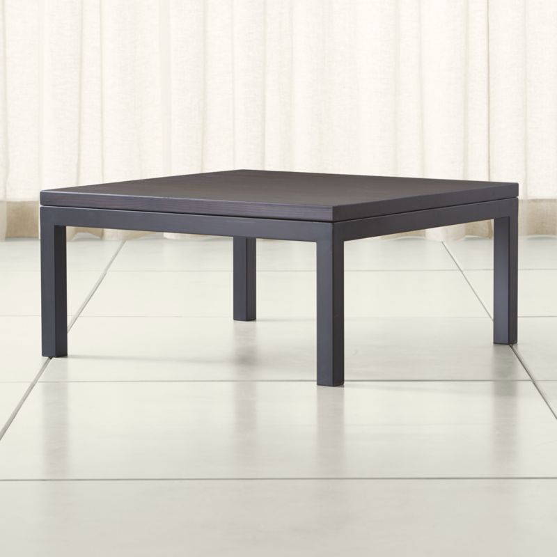 Parsons pine top dark steel base 36x36 square coffee for Coffee table 48 x 36