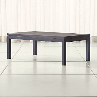 Parsons Pine Top/ Dark Steel Base 48x28 Small Rectangular Coffee Table