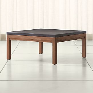 parsons pine top elm base 36x36 square coffee table add to favorites - Square Coffee Tables