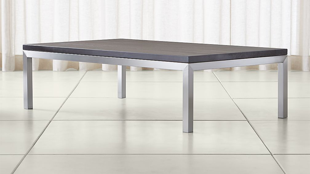 Parsons Pine Top/ Stainless Steel Base 60x36 Large Rectangular Coffee Table