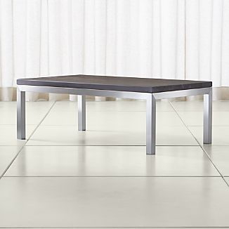 Parsons Pine Top/ Stainless Steel Base 48x28 Small Rectangular Coffee Table