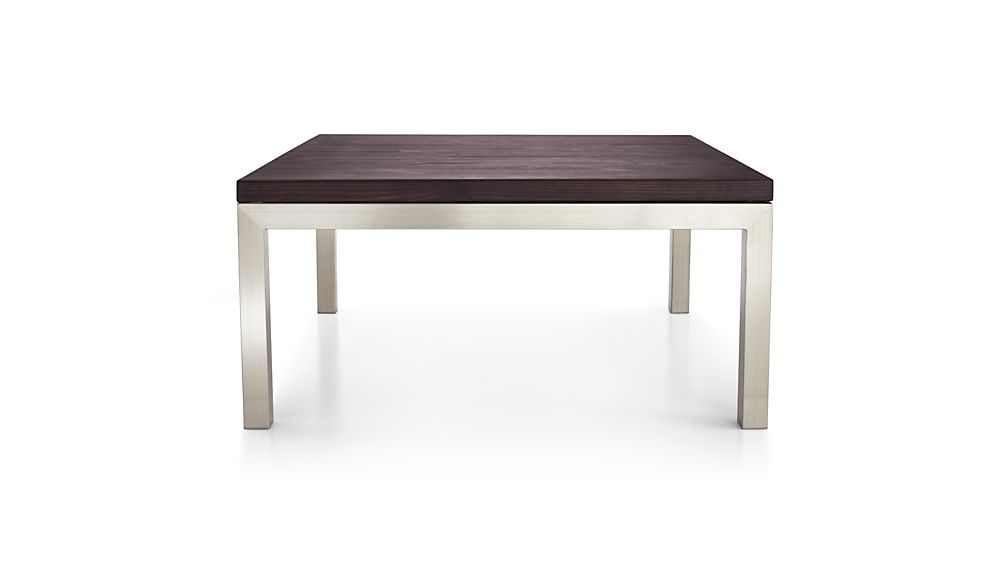 Parsons Pine Top/ Stainless Steel Base 36x36 Square Coffee Table