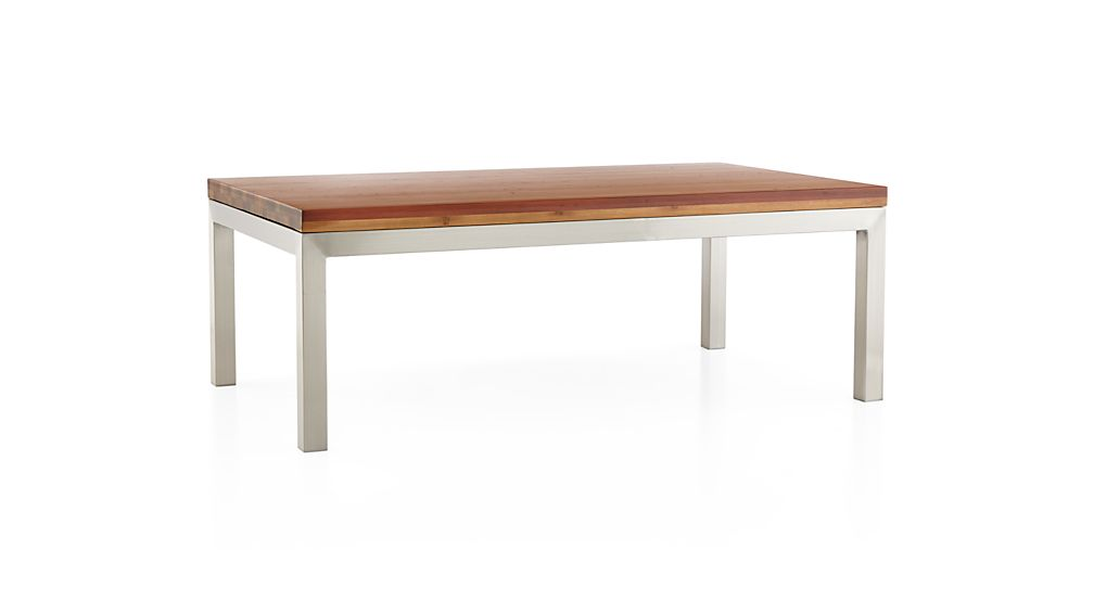 Parsons Reclaimed Wood Top/ Stainless Steel Base 48x28 Small Rectangular Coffee Table