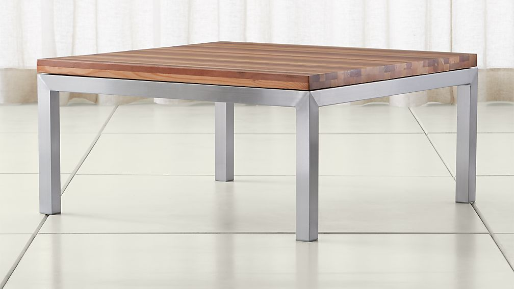 Parsons Reclaimed Wood Top/ Stainless Steel Base 36x36 Square Coffee Table  ...
