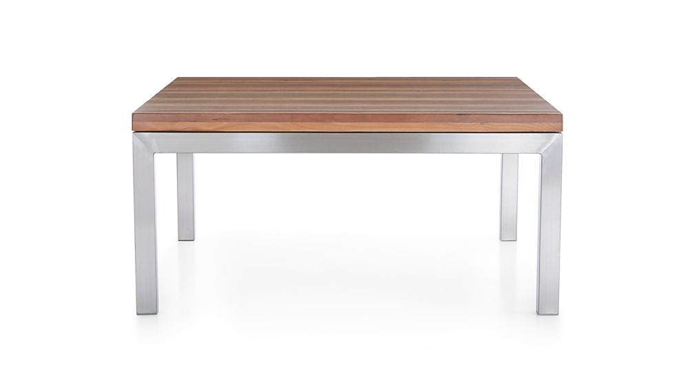 Parsons Reclaimed Wood Top/ Stainless Steel Base 36x36 Square Coffee Table
