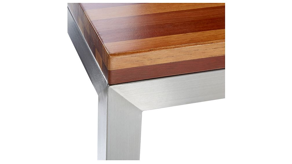 Parsons Reclaimed Wood Top/ Stainless Steel Base 60x36 Large Rectangular Coffee Table
