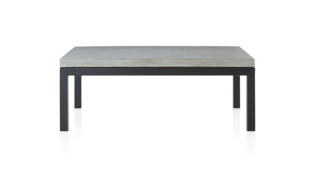 Parsons Concrete Top/ Dark Steel Base 48x28 Small Rectangular Coffee Table