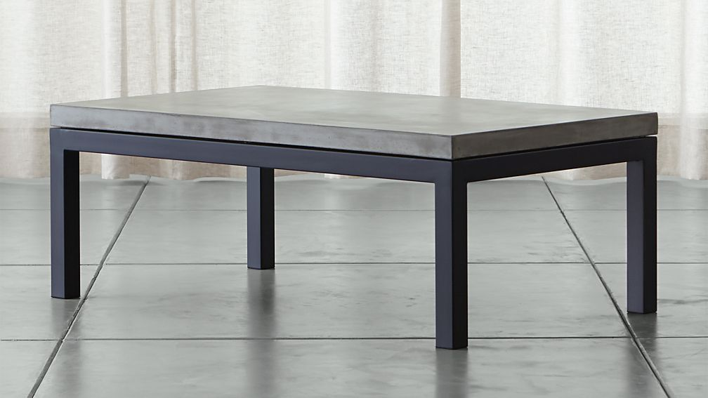 Parsons Concrete Top/ Dark Steel Base 48x28 Small Rectangular Coffee Table  ...