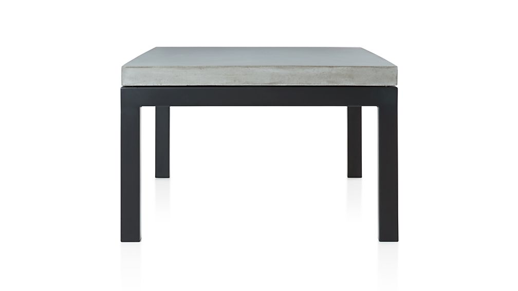 Parsons Small Rectangular Dark Steel Coffee Table with Concrete Top