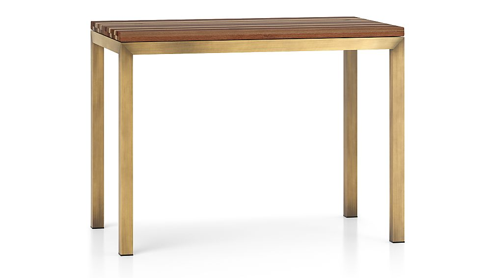 Parsons Reclaimed Wood Top/ Brass Base 48x28 High Dining Table