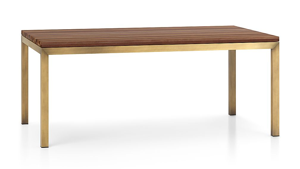 Parsons Reclaimed Wood Top/ Brass Base 72x42 Dining Table
