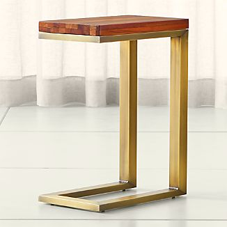 Parsons Reclaimed Wood Top/ Brass Base 20x12 C Table