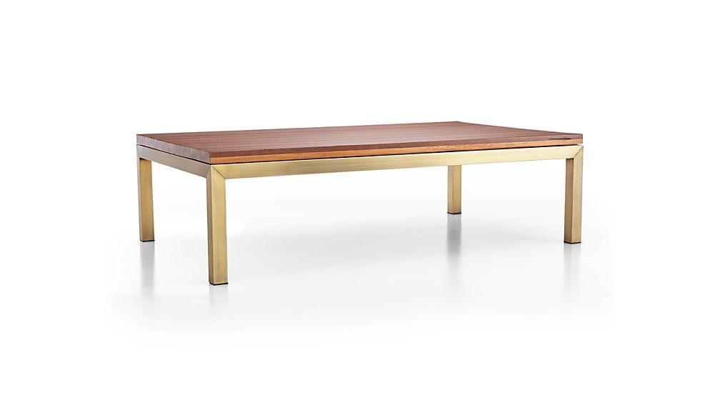 Parsons Reclaimed Wood Top/ Brass Base 60x36 Large Rectangular Coffee Table