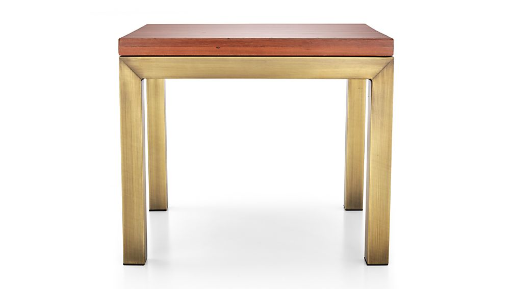 Parsons Reclaimed Wood Top/ Brass Base 20x24 End Table