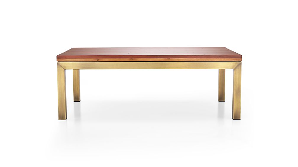 Parsons Reclaimed Wood Top/ Brass Base 48x28 Small Rectangular Coffee Table
