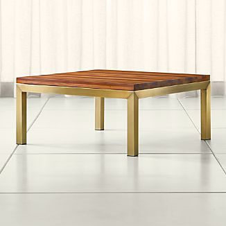 Parsons Reclaimed Wood Top/ Brass Base 36x36 Square Coffee Table