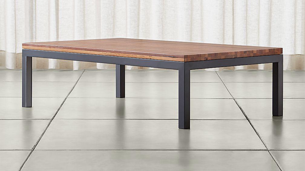 Parsons Reclaimed Wood Top/ Dark Steel Base 60x36 Large Rectangular Coffee Table