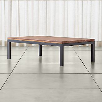 Parsons Reclaimed Wood Top/ Dark Steel Base 60x36 Large Rectangular Coffee Table