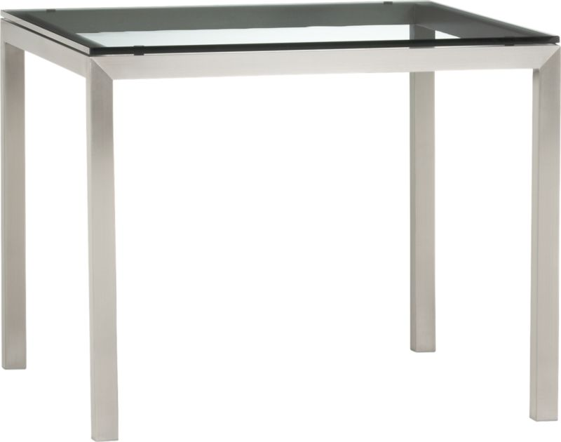 "Start with a great base. Top it off with a clean, clear top. Voila—the perfect table. Stainless-steel frame with a contemporary matte finish supports with clean simple lines. Floating glass top is ⅝"" thick with flat polished edge. A natural for the kitchen, also works as an office desk or worktable. Seats four.<br /><br /><NEWTAG/><ul><li>Stainless-steel base with matte finish</li><li>⅝"" thick glass with flat polished edge</li><li>Clean top with glass cleaner and lint-free cloth</li><li>Seats four</li><li>Made in China</li></ul>"