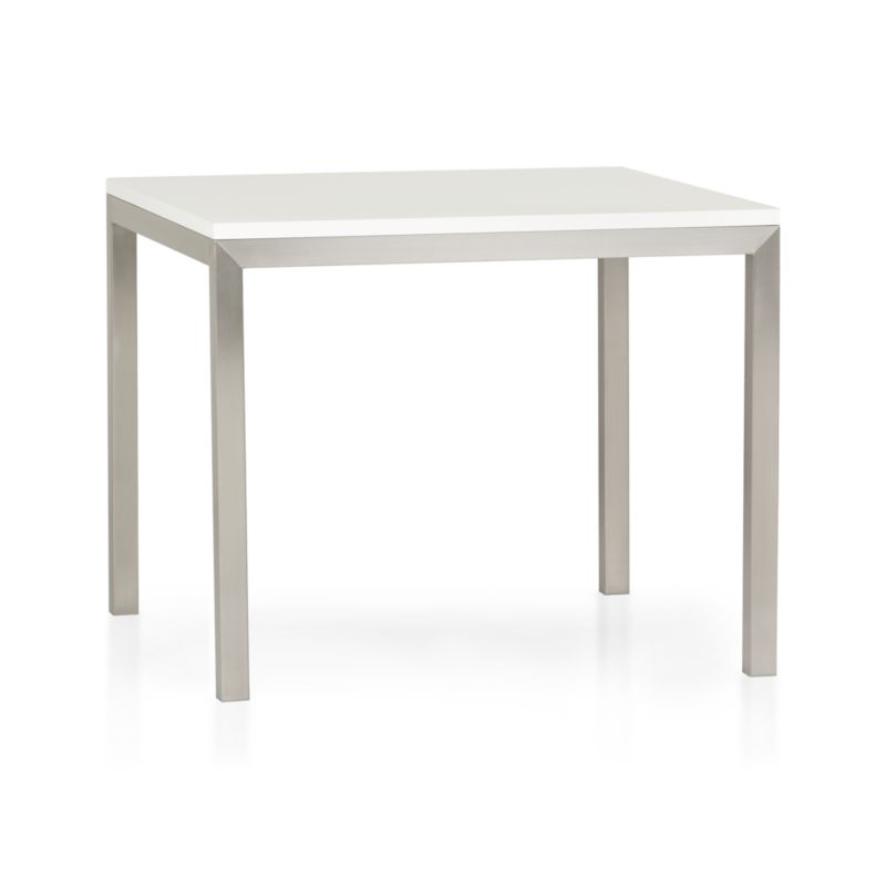 Start with a great base. Top it off with a clean, hard-working top. Voila—the perfect table. Stainless-steel frame with a contemporary matte finish supports with clean simple lines. Highly durable engineered wood top with a crisp white powdercoat finish is heat-resistant and anti-microbial. A natural for the kitchen, also works as an office desk or worktable. Seats four.<br /><br /><NEWTAG/><ul><li>Stainless-steel base with matte finish</li><li>Low-emission engineered wood with white powdercoat finish</li><li>Seats four</li><li>Made in USA and China</li></ul>