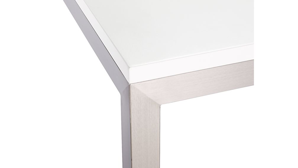 Parsons White Top/ Stainless Steel Base 72x42 Dining Table