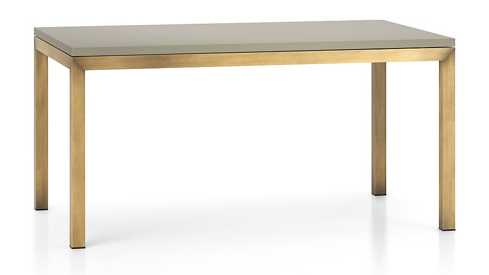 Parsons Grey Solid Surface Top/ Brass Base 60x36 Dining Table