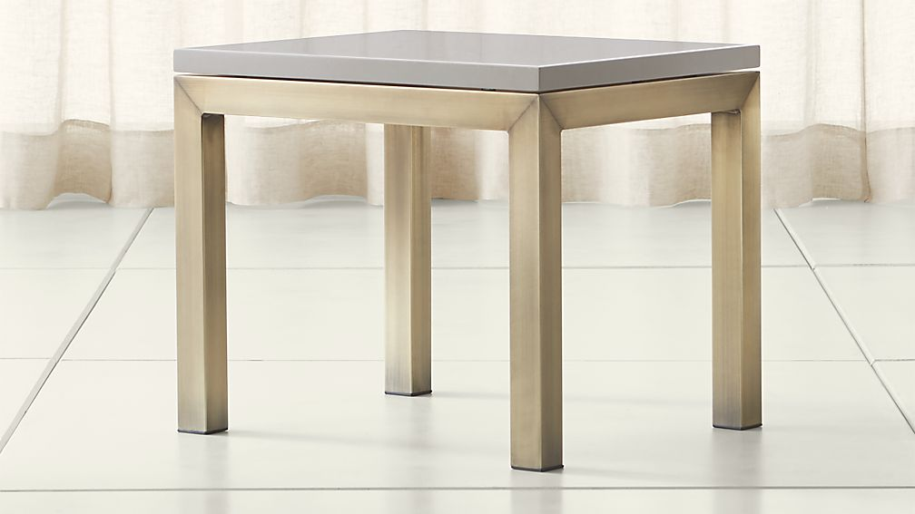 Parsons Grey Solid Surface Top/ Brass Base 20x24 End Table - Image 1 of 4