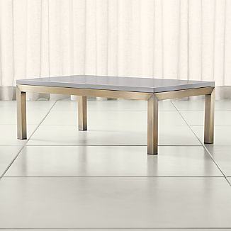 Parsons Grey Solid Surface Top/ Brass Base 48x28 Small Rectangular Coffee Table