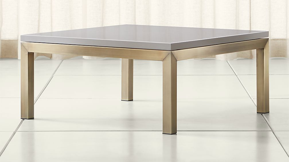 Parsons Grey Solid Surface Top/ Brass Base 36x36 Square Coffee Table ...