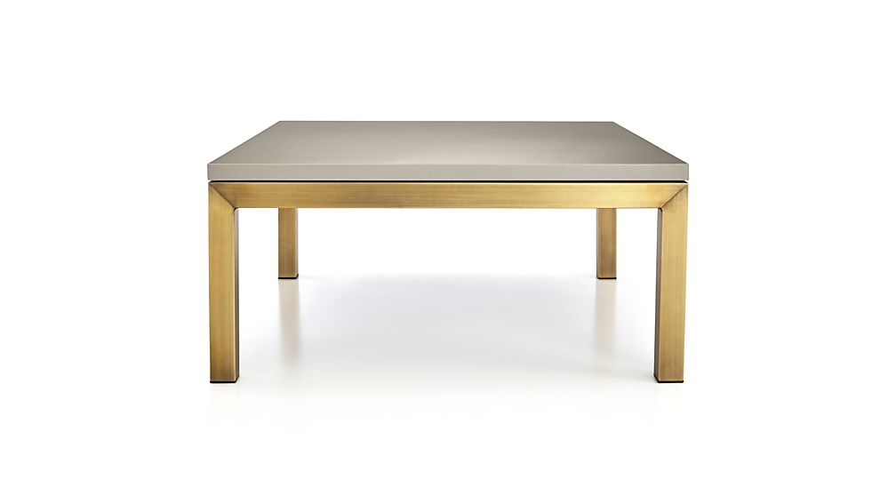 Parsons Grey Solid Surface Top/ Brass Base 36x36 Square Coffee Table
