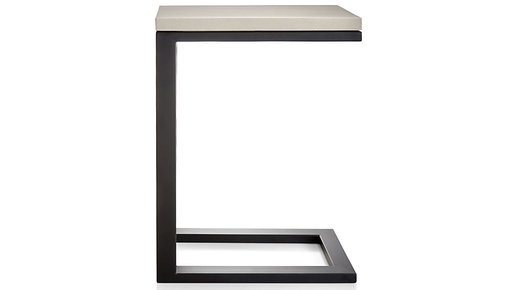 Parsons Grey Solid Surface Top/ Dark Steel Base 20x12 C Table