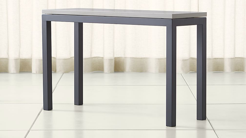 Parsons Grey Solid Surface Top/ Dark Steel Base 48x16 Console