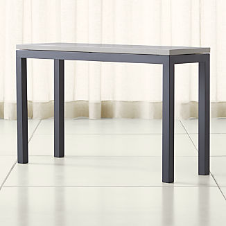 888a0319c876 Parsons Grey Solid Surface Top  Dark Steel Base 48x16 Console