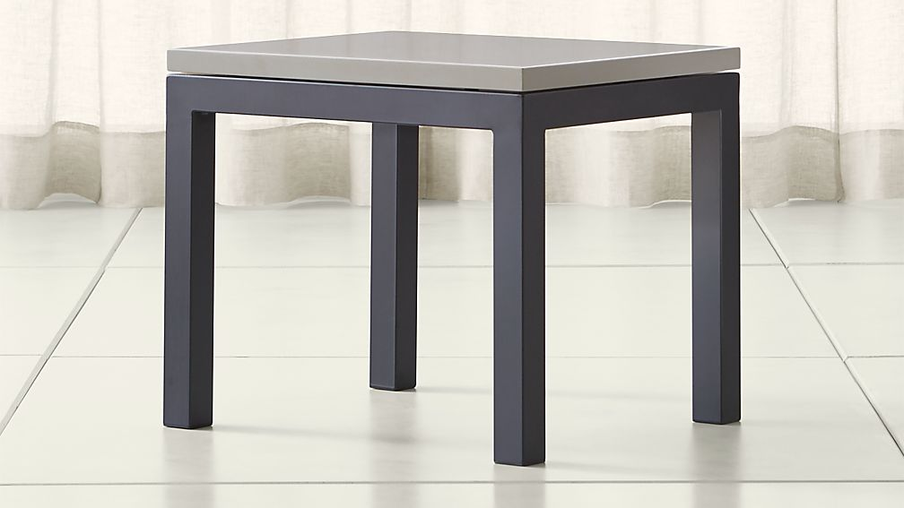 Parsons Grey Solid Surface Top/ Dark Steel Base 20x24 End Table - Image 1 of 4