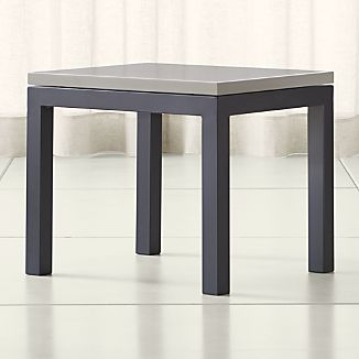 Parsons Grey Solid Surface Top/ Dark Steel Base 20x24 End Table