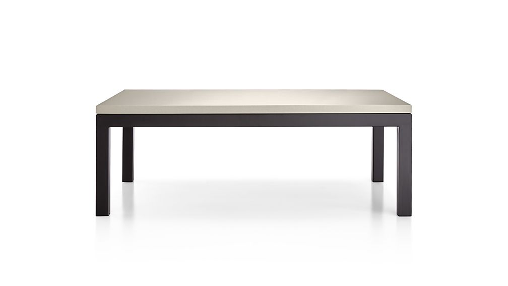 Parsons Grey Solid Surface Top/ Dark Steel Base 48x28 Small Rectangular Coffee Table