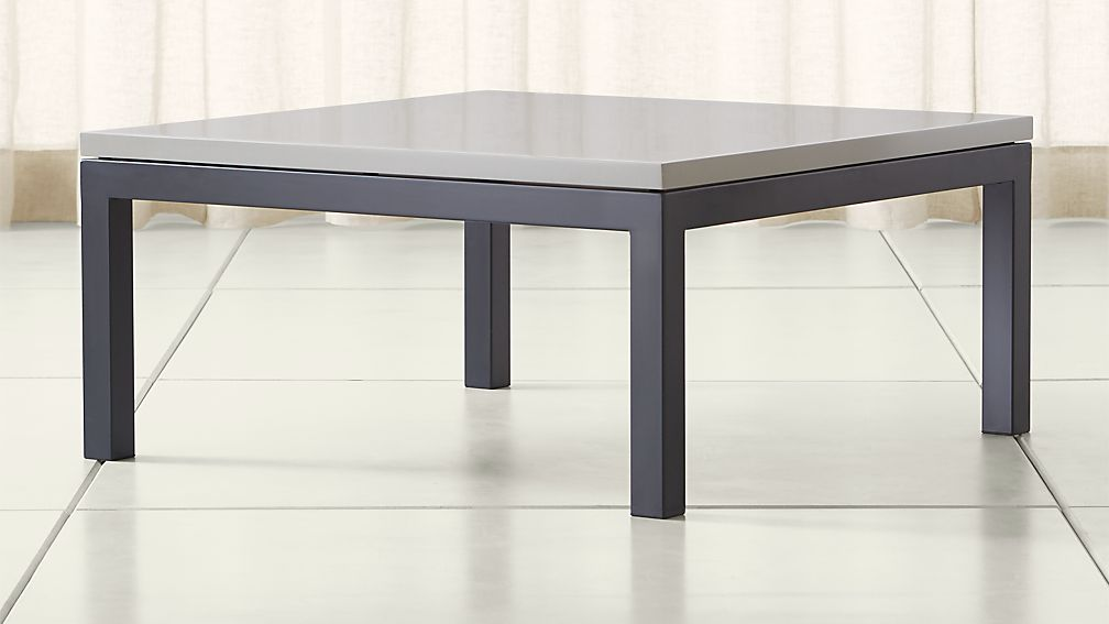 Parsons Grey Solid Surface Top/ Dark Steel Base 36x36 Square Coffee Table  ...