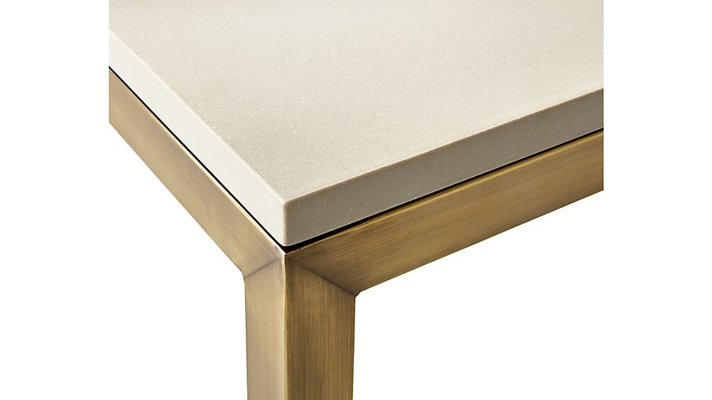 Parsons Grey Solid Surface Top/ Brass Base 72x42 Dining Table