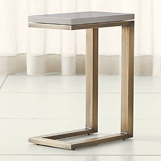 Parsons Grey Solid Surface Top/ Brass Base 20x12 C Table