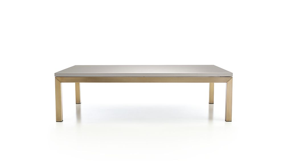 Parsons Grey Solid Surface Top/ Brass Base 60x36 Large Rectangular Coffee Table
