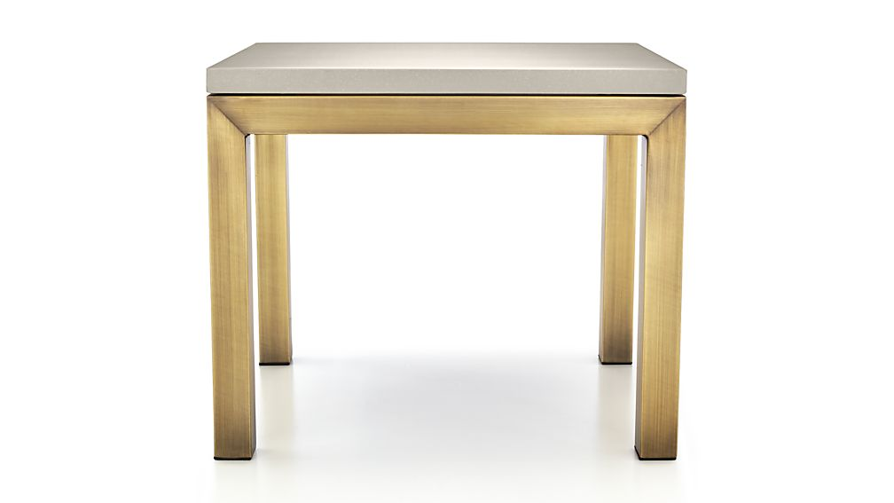 Parsons Grey Solid Surface Top/ Brass Base 20x24 End Table