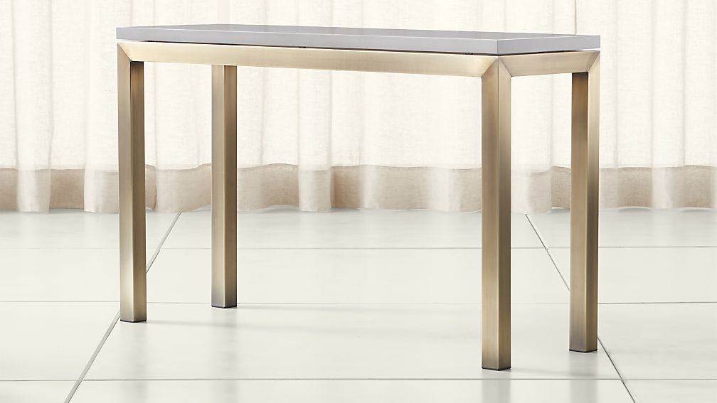 Parsons Grey Solid Surface Top/ Brass Base 48x16 Console - Image 1 of 4