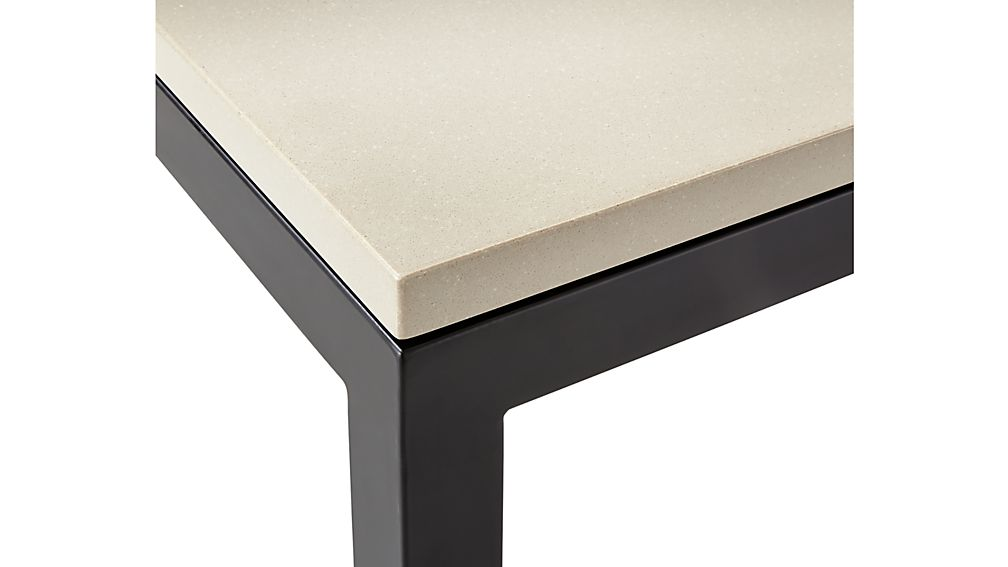 Parsons Grey Solid Surface Top/ Dark Steel Base 72x42 Dining Table