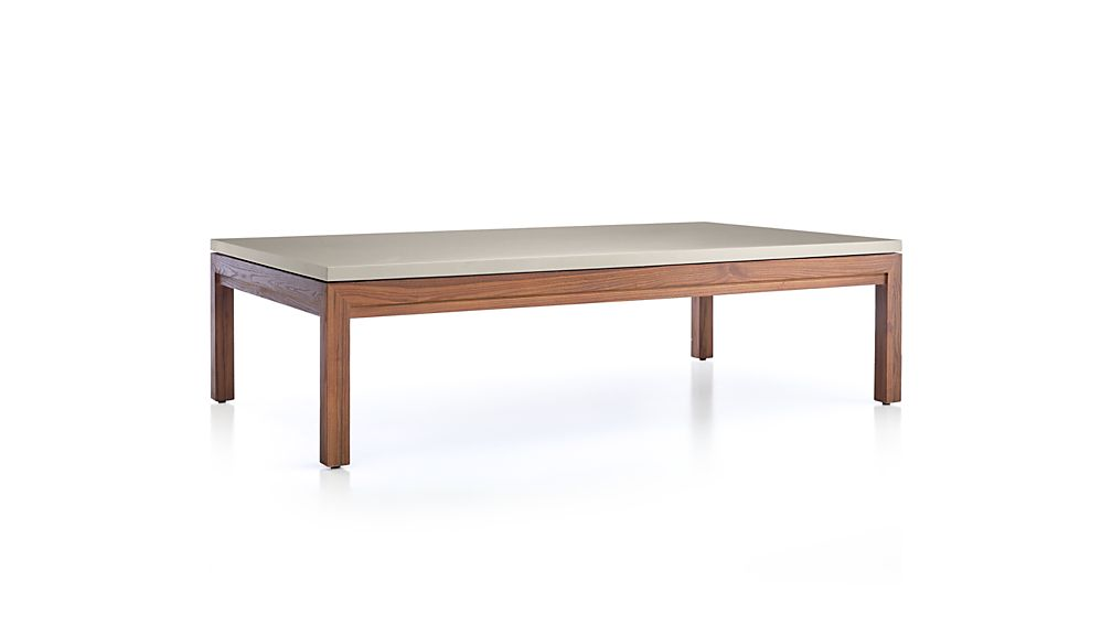 Parsons Grey Solid Surface Top/ Elm Base 60x36 Large Rectangular Coffee Table