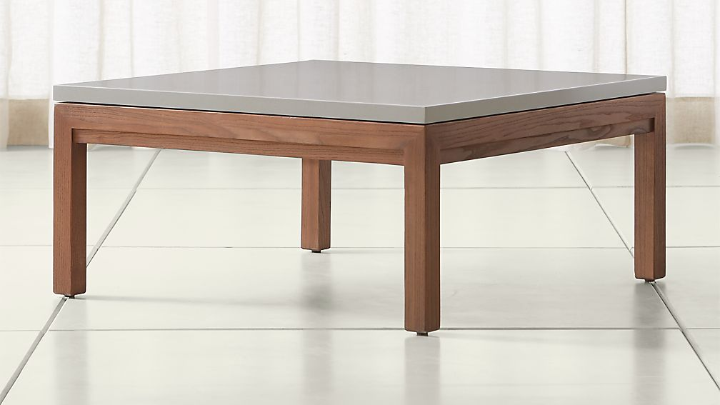 Parsons Grey Solid Surface Top Elm Base 36x36 Square Coffee Table Crate And Barrel
