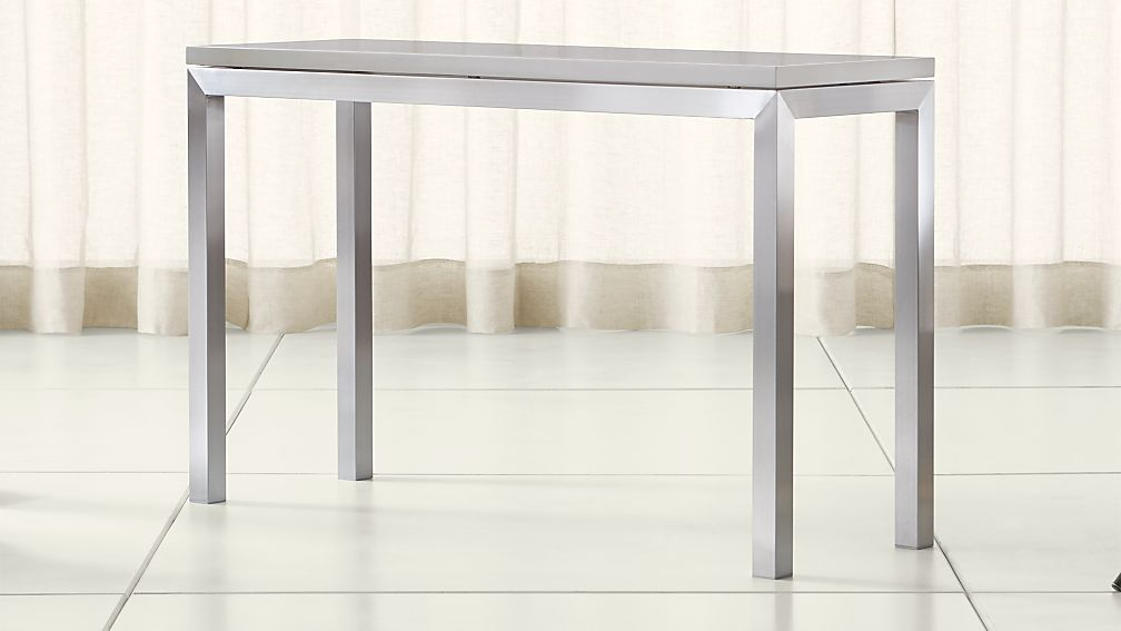 Parsons Grey Solid Surface Top/ Stainless Steel Base 48x16 Console - Image 1 of 4