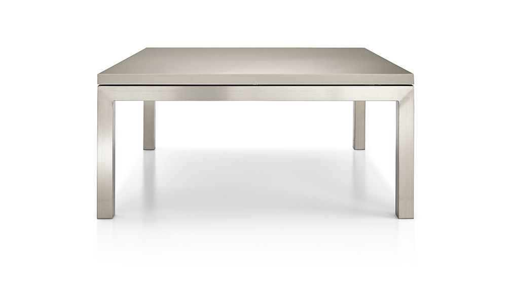Parsons Grey Solid Surface Top/ Stainless Steel Base 36x36 Square Coffee Table