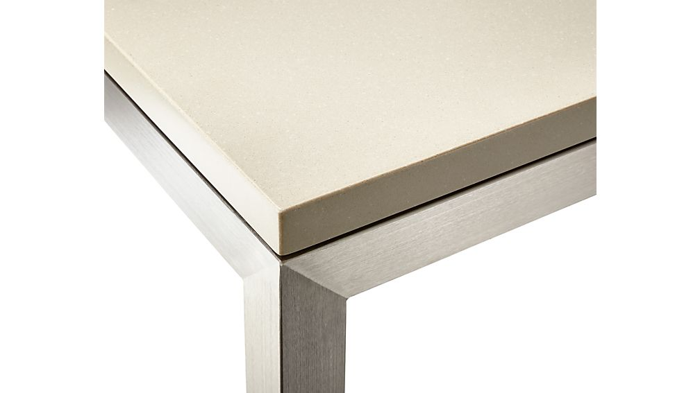 Parsons Grey Solid Surface Top/ Stainless Steel Base 72x42 Dining Table