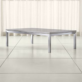 Parsons Grey Solid Surface Top/ Stainless Steel Base 60x36 Large Rectangular Coffee Table